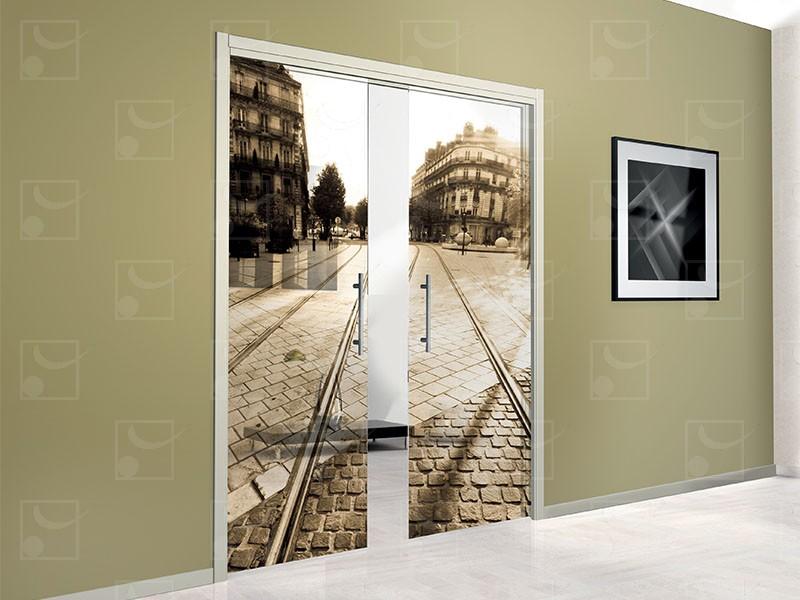 SAFGLASS-INSIDE Set for double leaves glass door