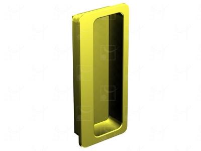 Rectangular recessed handles gold-plated metal