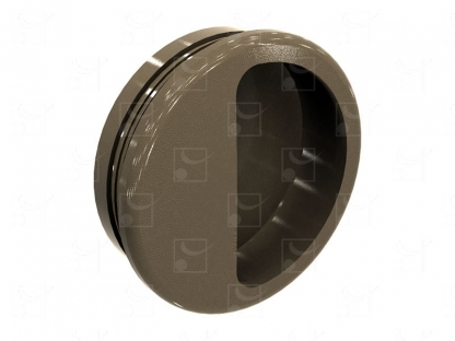 Round recessed handles brown colour