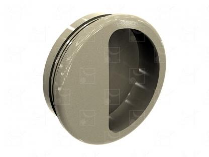 Round recessed handles beige colour