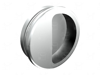 Round recessed handles silver colour