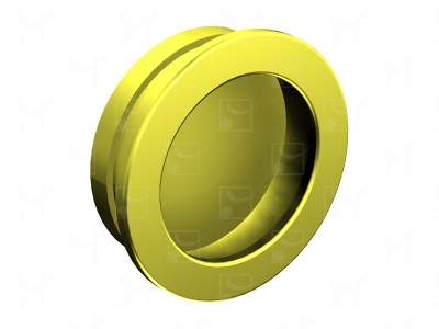 Round recessed handles gold-plated metal