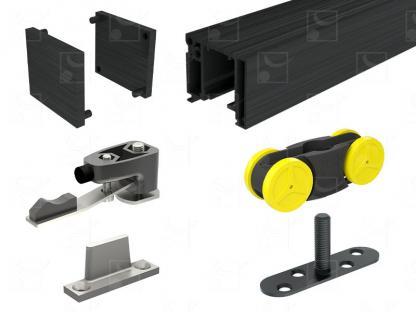 Kit for 80 kg doors – standard 103 cm door – Black anodised finish