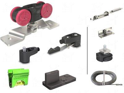Synchronisation kit for 2 opposing 80 kg doors